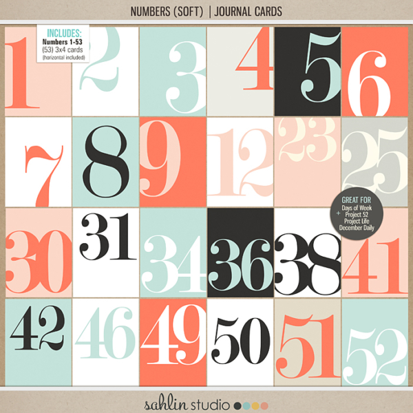 Numbers (Soft) Journal Cards by Sahlin Studio