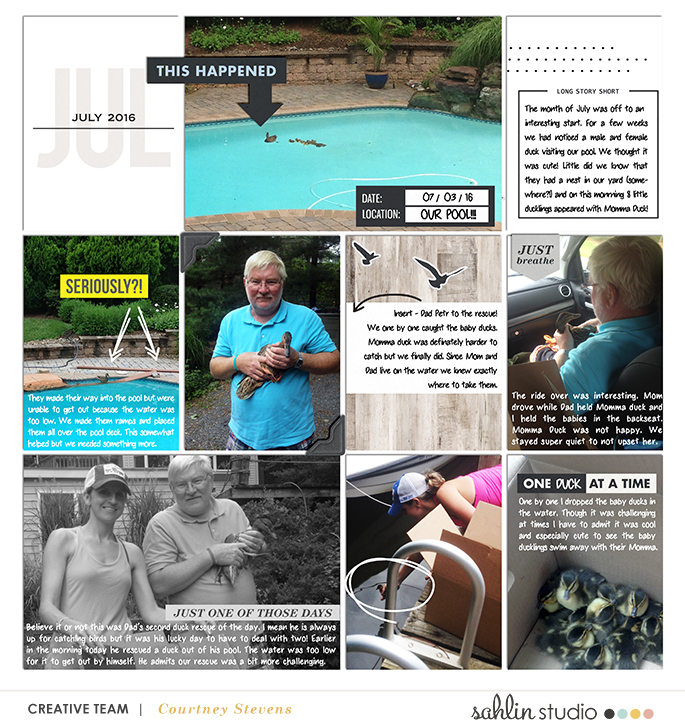 July digital project life page by Cnscrap using Rough Times by Sahlin Studio