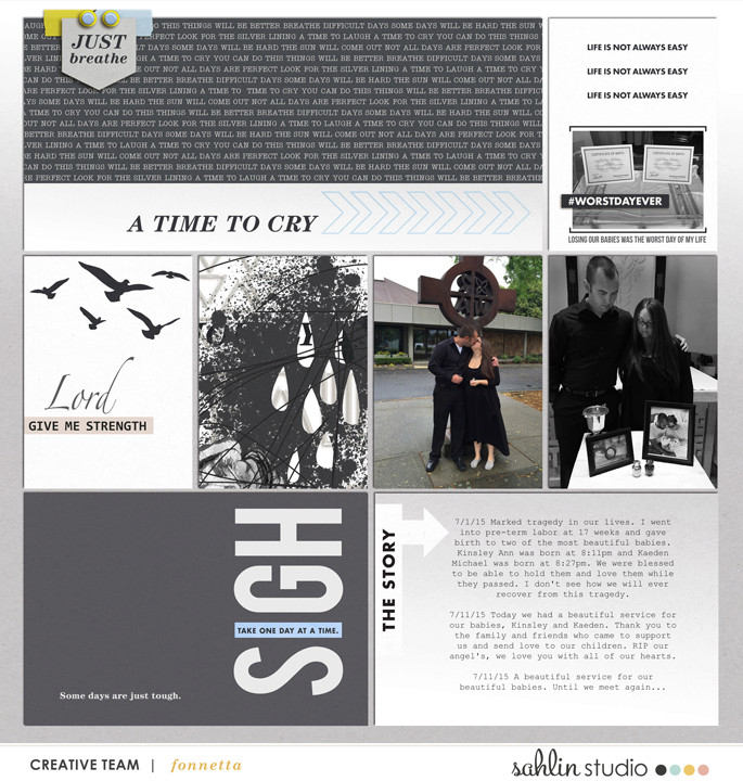 A Time To Cry digital project life page by fonnetta using Rough Times by Sahlin Studio