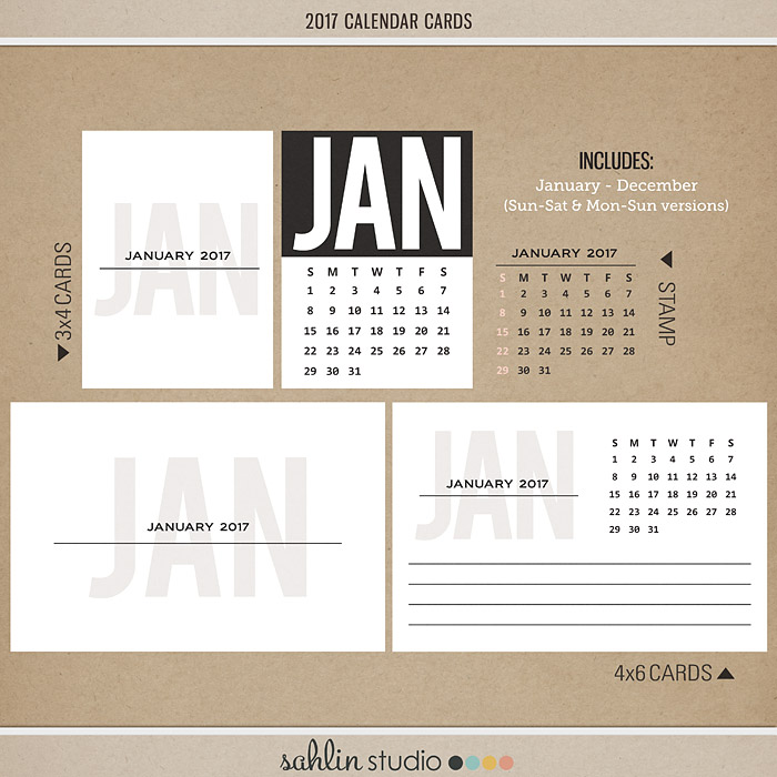 2017 Calendar Journal Cards and Stamps by Sahlin Studio - Perfect for your printable or digital Project Life spreads!!