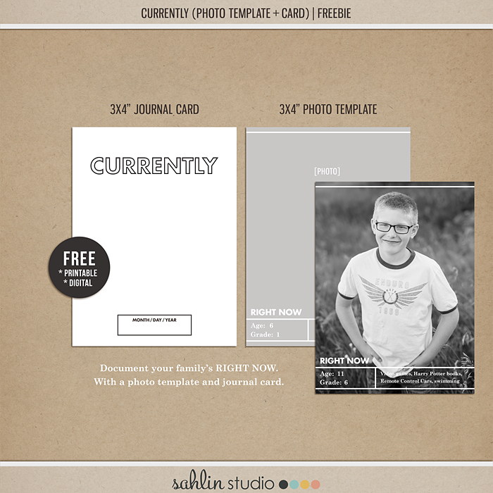 Currently   Template and Journal Card FREEBIE - Perfect for capturing your families interests in your Project Life or scrapbook album, right now!!
