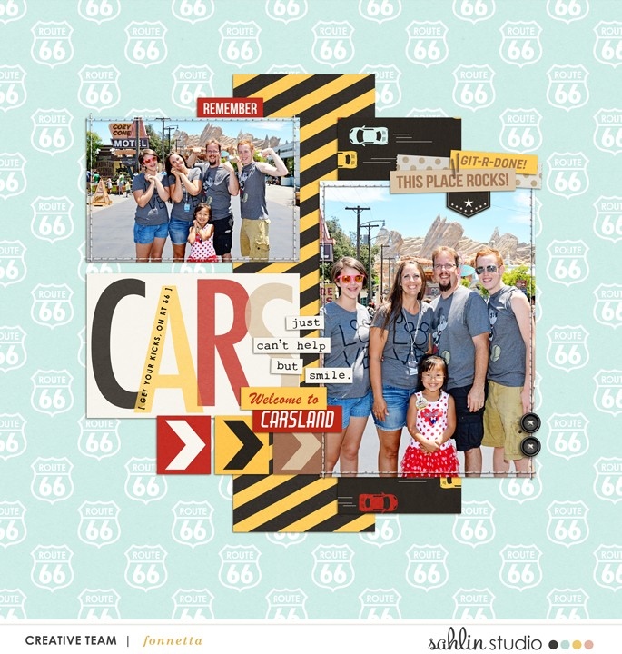 CARSland digital scrapbooking layout created featuring April 2016 Template by Sahlin Studio