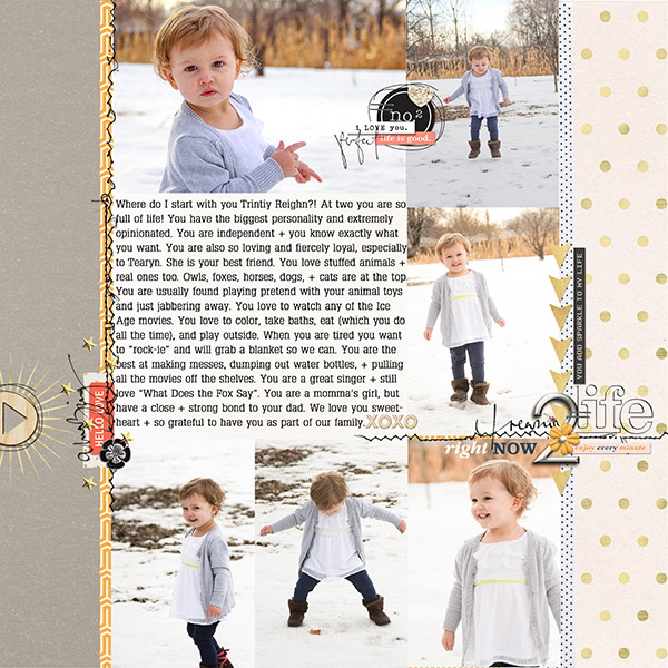 Digital scrapbooking layout created by Tanderson featuring February 2016 FREE Template by Sahlin Studio