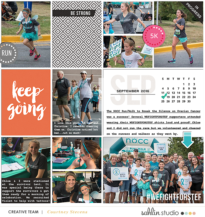 Keep Going 5K Race Run - Digital Scrapbooking layout using Clean Lined Pocket Templates - It keeps all the clean lines of the classic pocket templates, but with more visual interest to keep things exciting!