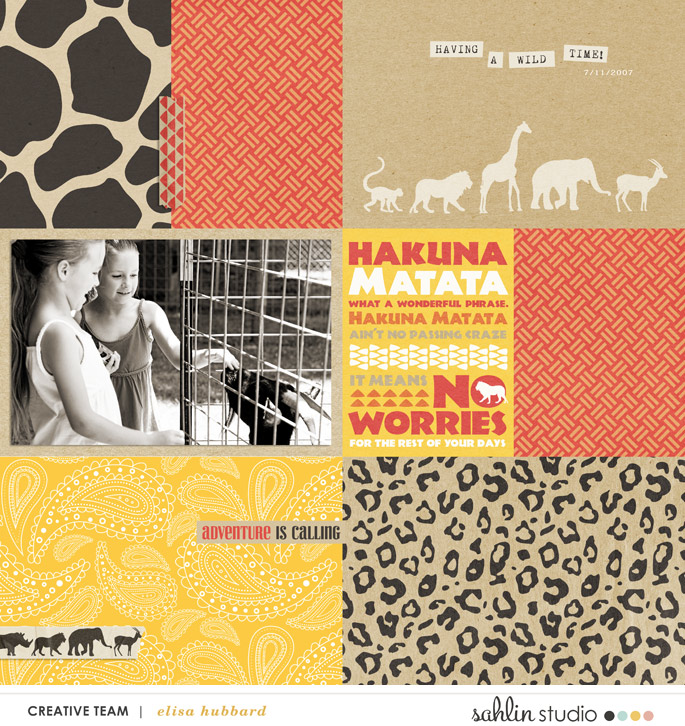 Having a Wild Time with Animals - Digital Scrapbooking layout using Clean Lined Pocket Templates - It keeps the clean lines of the classic pocket templates we know, but with more visual interest to keep things exciting!