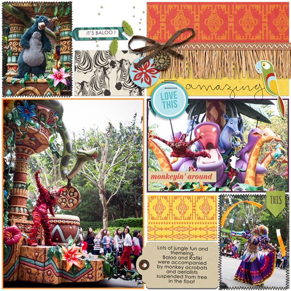 Disney Animal Kingdom Parade - Digital Scrapbooking layout using Clean Lined Pocket Templates - It keeps all the clean lines of the classic pocket templates, but with more visual interest to keep things exciting!