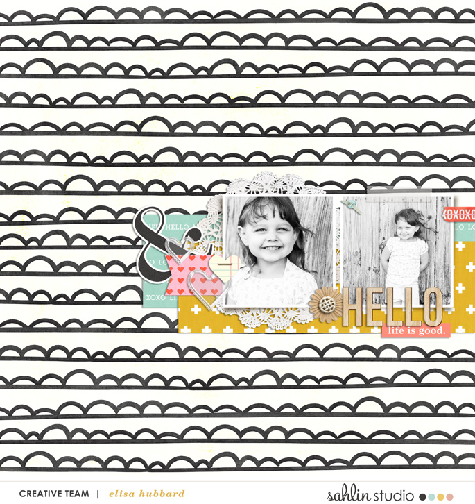 digital scrapbooking layout created by EHStudios featuring Hello Kit Sampler by Sahlin Studio