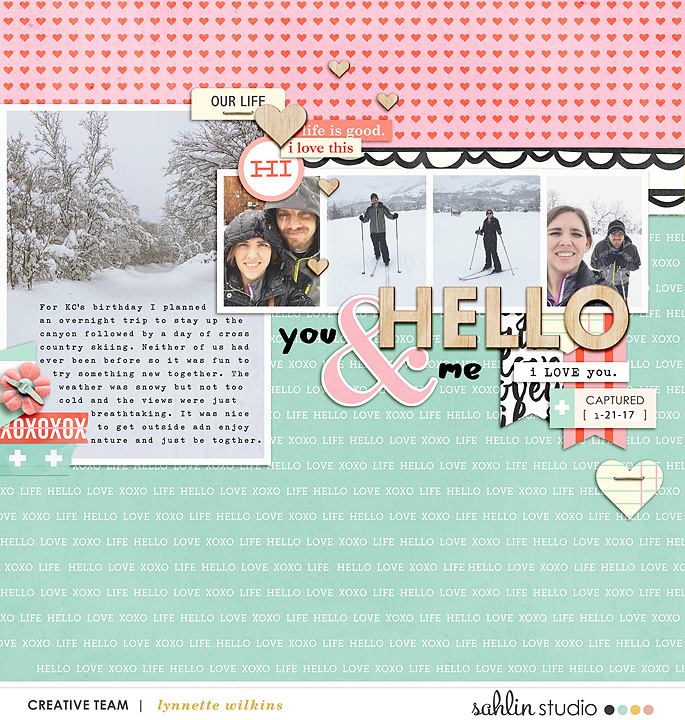 digital scrapbooking layout created by lynnette featuring Hello Kit Sampler by Sahlin Studio