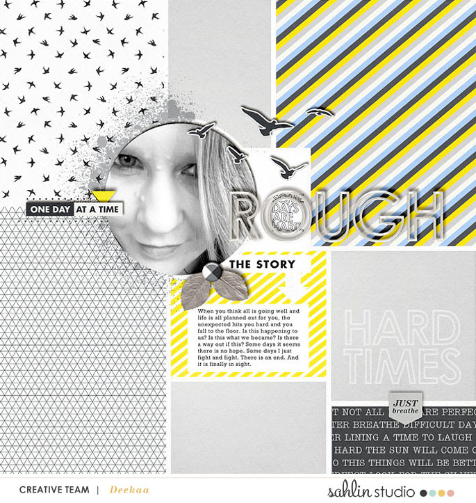 Things are Rough digital scrapbooking page using Rough Times by Sahlin Studio
