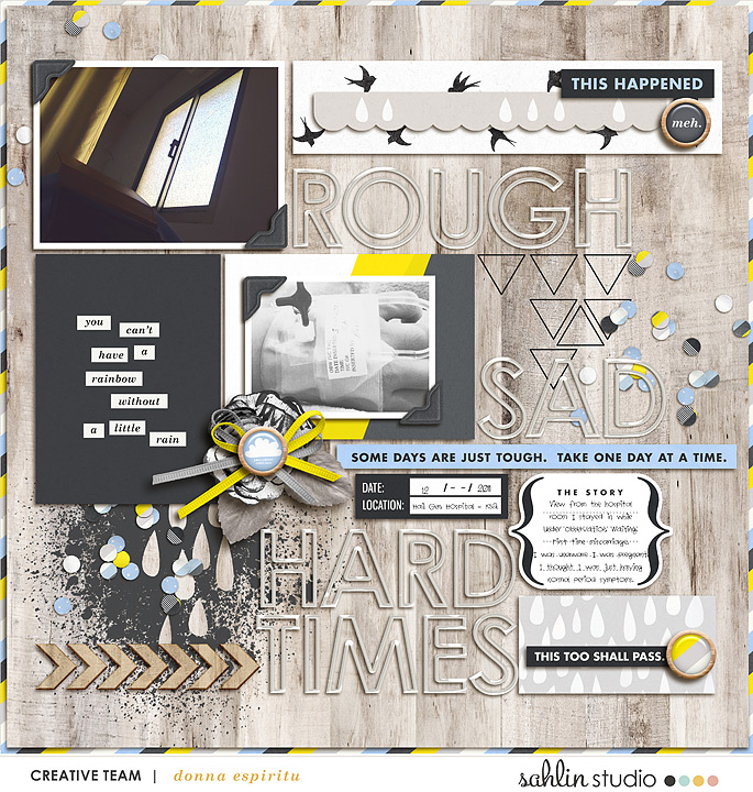 Rough Hard Times digital scrapbooking page using Rough Times by Sahlin Studio