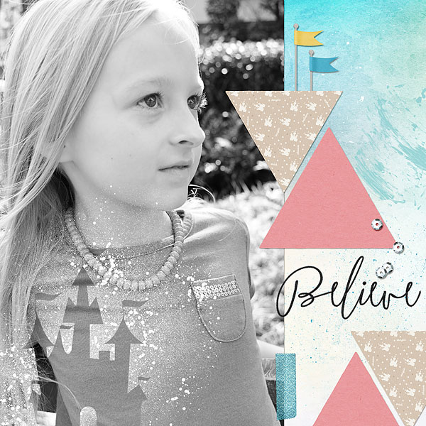 Disney Believe digital scrapbooking page using Project Mouse: Artsy and Beginnings by Sahlin Studio and Britt-ish Designs