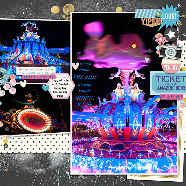 Disney Dumbo At Night digital scrapbooking page using Project Mouse: Pins, Artsy and Beginnings by Sahlin Studio and Britt-ish Designs
