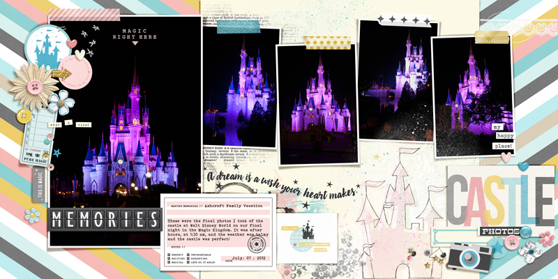 Disneyland Castle digital scrapbooking page using Project Mouse: Pins, Artsy and Beginnings by Sahlin Studio and Britt-ish Designs