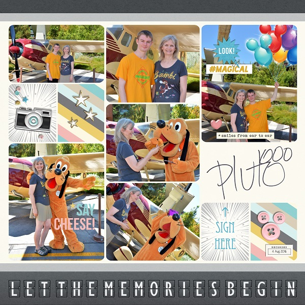Disney Pluto - Let the Memories Begin digital scrapbooking page using Project Mouse: Pins and Beginnings by Sahlin Studio and Britt-ish Designs