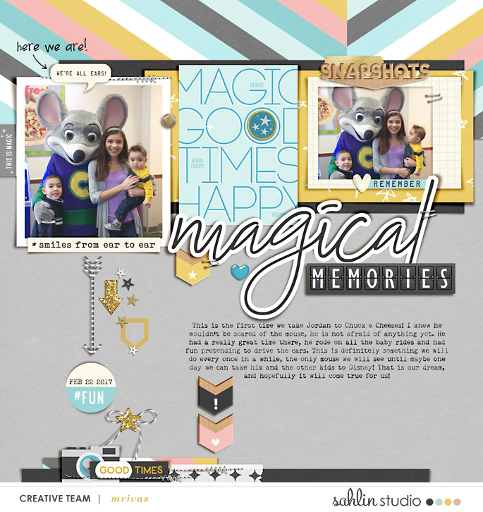 Digital scrapbooking layout using Project Mouse: Beginnings Kit and Journal Cards by Sahlin Studio and Britt-ish Designs