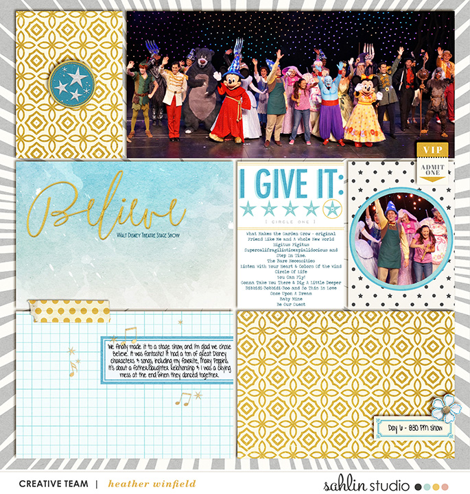 Disney Project Life layout using Project Mouse: Beginnings Kit and Journal Cards by Sahlin Studio and Britt-ish Designs