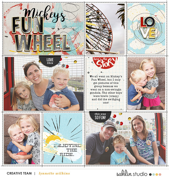 DCA Mickey's Fun Wheel, Enjoy the Ride digital project life page using Project Mouse: Artsy by Sahlin Studio and Britt-ish Designs
