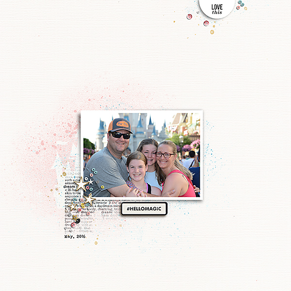 Hello Magic Walt Disney World WDW digital scrapbooking page using Project Mouse: Artsy, Pins, Photo Tabs by Sahlin Studio and Britt-ish Designs