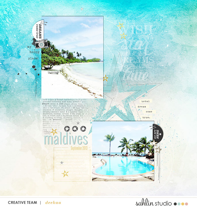 Maldives Beach Vacation digital scrapbooking page using Project Mouse: Artsy and Beginnings by Sahlin Studio and Britt-ish Designs