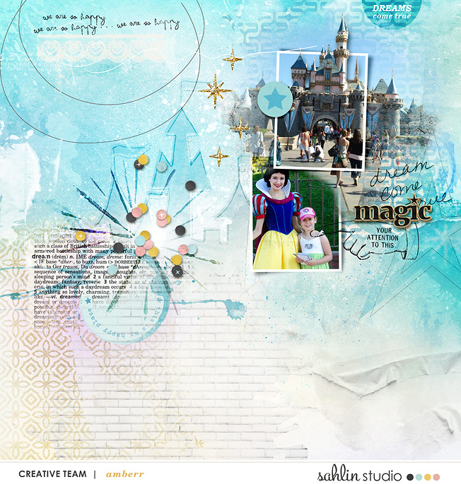 Disney Castle digital scrapbooking page using Project Mouse: Artsy and Beginnings by Sahlin Studio and Britt-ish Designs