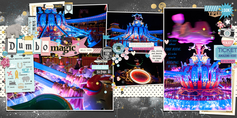 Disney Dumbo At Night digital scrapbooking page using Project Mouse: Artsy and Beginnings by Sahlin Studio and Britt-ish Designs