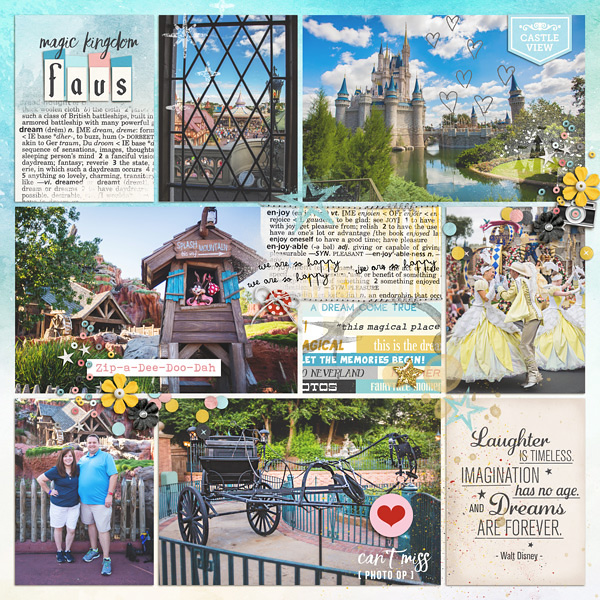 Disney WDW Walt Disney World DREAMS digital project life page using Project Mouse: Artsy and Beginnings by Sahlin Studio and Britt-ish Designs
