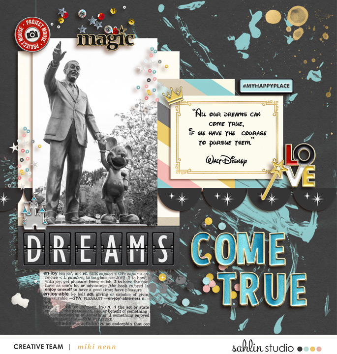 Walt Disney Mickey statue BELIEVE digital scrapbooking page using Project Mouse: Artsy and Beginnings by Sahlin Studio and Britt-ish Designs