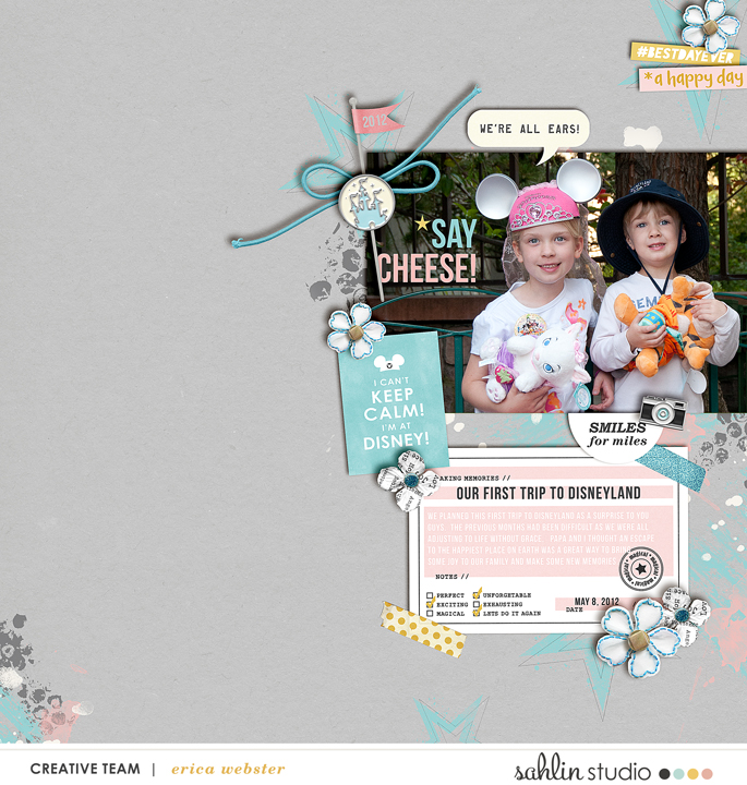 Disney Vacation All Ears BELIEVE digital scrapbooking page using Project Mouse: Artsy and Beginnings by Sahlin Studio and Britt-ish Designs