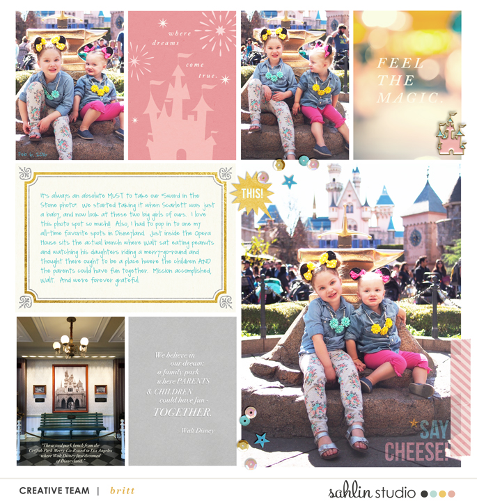 Disneyland Castle digital project life page using Project Mouse: Pins and Beginnings by Sahlin Studio and Britt-ish Designs