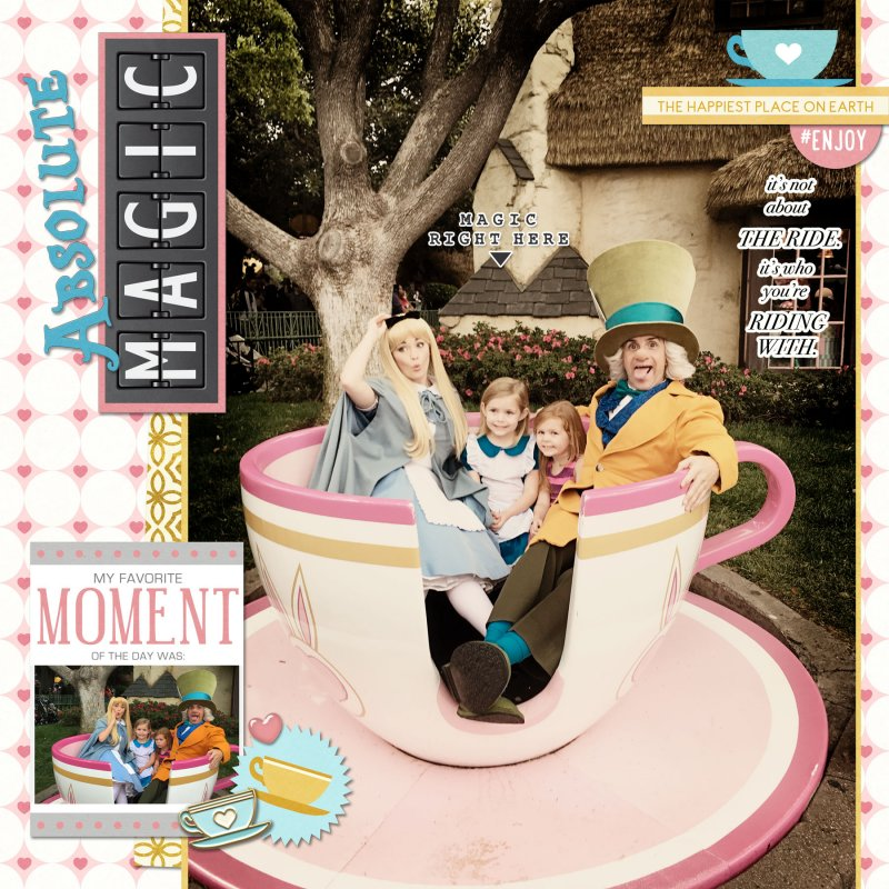 Disney Tea Cup digital scrapbooking page using Project Mouse: Pins and Beginnings by Sahlin Studio and Britt-ish Designs