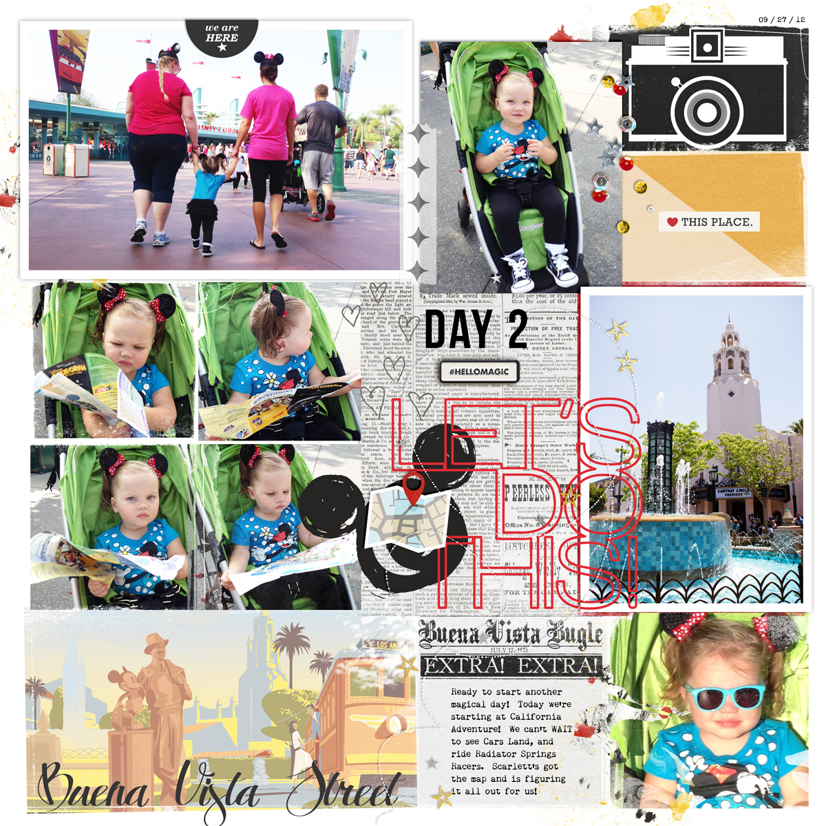 Disney Lets Do This digital project life page using Project Mouse: Artsy and Classic by Sahlin Studio and Britt-ish Designs