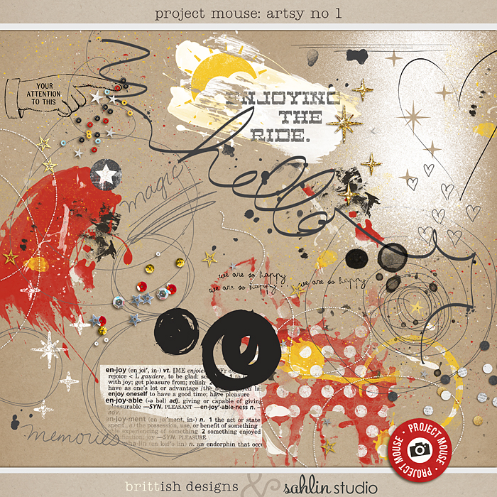 Project Mouse: Artsy 1 | by Britt-ish Designs and Sahlin Studio - Perfect for adding art journaling techniques to your Disney / Disneyland digital scrapbook layouts! Add paint & doodles, scatters of sequins & confetti.