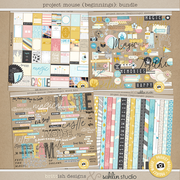 Project Mouse (Beginning): BUNDLE | by Britt-ish Designs and Sahlin Studio - Perfect for your Disney / Disneyland Project Life or scrapbook layouts!