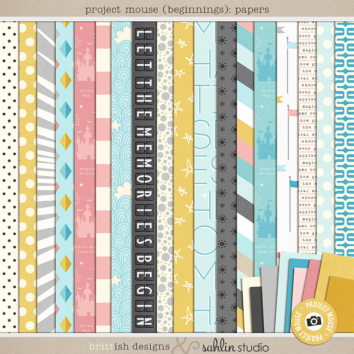 Project Mouse (Beginning): Papers | by Britt-ish Designs and Sahlin Studio - Perfect for your Disney / Disneyland Project Life or scrapbook layouts!
