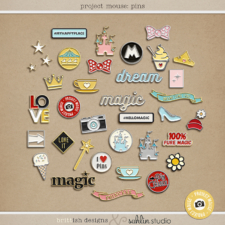 Project Mouse: Enamel Pins | by Britt-ish Designs and Sahlin Studio - Perfect for your Disney / Disneyland Project Life or digital scrapbook layouts!