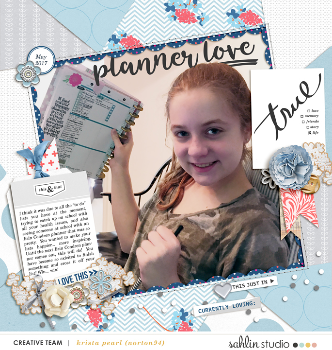 Planner love digital scrapbooking kit using For Real by Sahlin Studio