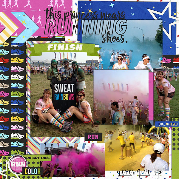 Sweat Rainbows digital project life page using Project Mouse (Run) by Britt-ish Designs and Sahlin Studio
