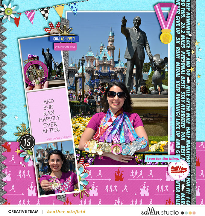 Disney Run digital scrapbooking page using Project Mouse (Run) by Britt-ish Designs and Sahlin Studio