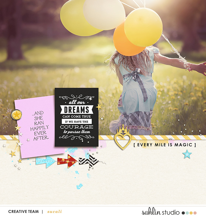 Every mile is magic digital project life page using Project Mouse (Run) by Britt-ish Designs and Sahlin Studio
