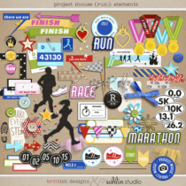 Project Mouse (Run) Elements by Britt-ish Designs and Sahlin Studio - Perfect for your magical races, runs, marathons and exercise in your Digital Scrapbooks or Project Life or Project Mouse albums!