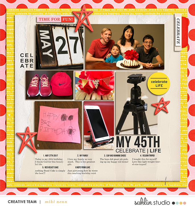 digital scrapbooking layout created by mikinenn featuring Celebrate by Sahlin Studio