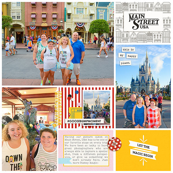 Disney digital scrapbooking double page using Clean Lined Pocket Templates No. 2 by Sahlin Studio