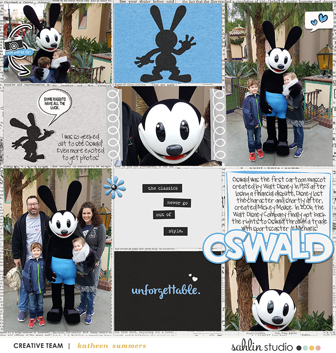 Oswald digital scrapbooking page using Clean Lined Pocket Templates No. 2 by Sahlin Studio