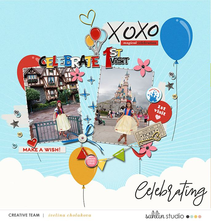 Celebrate 1st Visit Disneyland digital scrapbooking page using Project Mouse (Celebrate) by Britt-ish Designs and Sahlin Studio