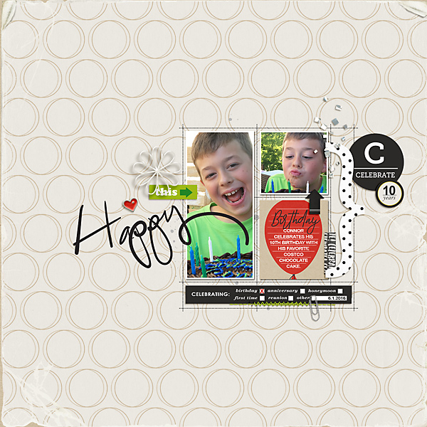 Happy digtial scrapbooking page using Project Mouse (Celebrate) by Britt-ish Designs and Sahlin Studio