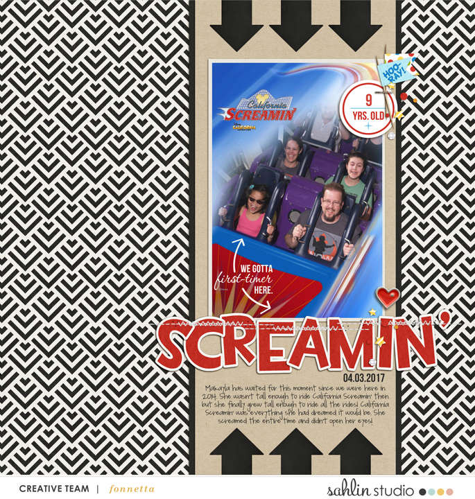California Screaming digital scrapbooking page using Project Mouse (Celebrate) by Britt-ish Designs and Sahlin Studio