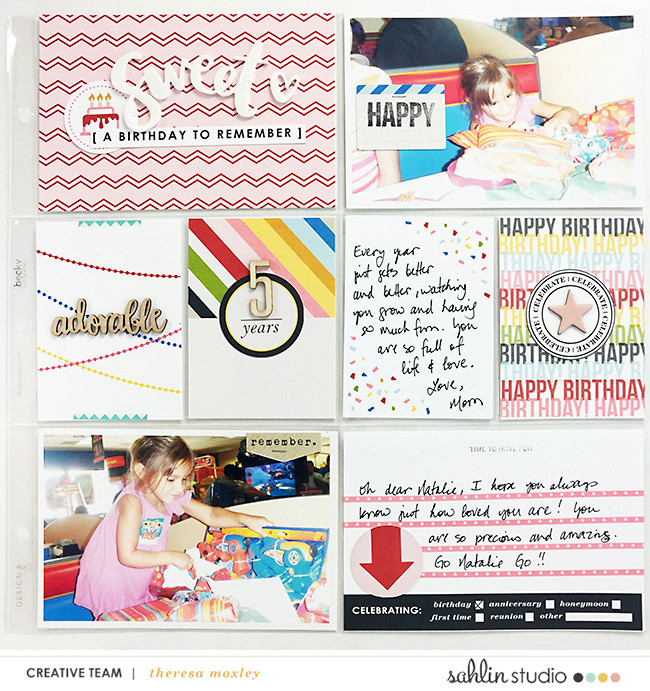 A birthday to remember digital project life double page using Project Mouse (Celebrate) by Britt-ish Designs and Sahlin Studio