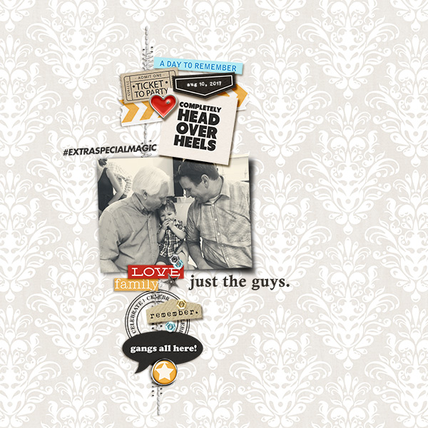 Just the guys digital scrapbooking page using Project Mouse (Celebrate) by Britt-ish Designs and Sahlin Studio