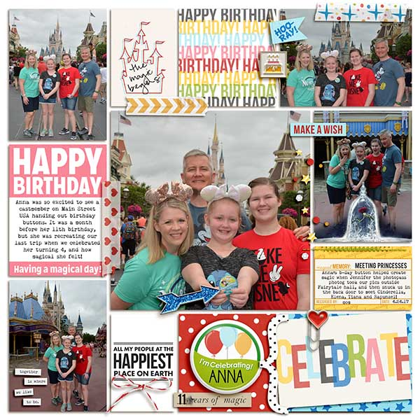 Celebrate Birthday digital project life double page using Project Mouse (Celebrate) by Britt-ish Designs and Sahlin Studio