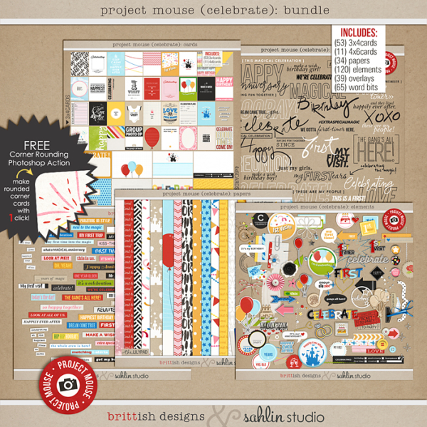 Project Mouse (Celebrate): BUNDLE - Perfect for digital or printable scrapbooking or Project Life or Disney Project Mouse albums!! Document your birthday, anniversary, you or your baby's first visit to Disney!!